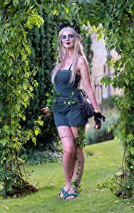 Bilder Blondine Pose Kleid Schminke Cosplay