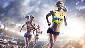 Bilder Blondine Lauf Uniform Bauch Hand Sport Mädchens