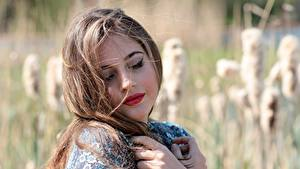 Pictures Bokeh Hair Beautiful Dark Blonde Makeup young woman