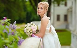 Hintergrundbilder Sträuße Brautpaar Blondine Kleid