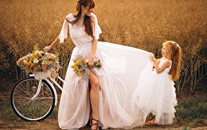 Wallpaper Bouquets Brown haired Brides Dress Little girls Joy Bicycle Girls Children