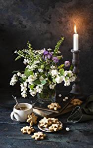 Hintergrundbilder Sträuße Kerzen Kekse Kaffee Stillleben Tasse