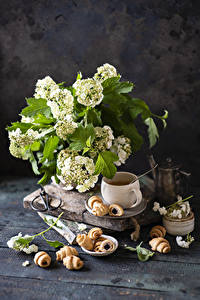Hintergrundbilder Blumensträuße Croissant Bretter Tasse Ast das Essen