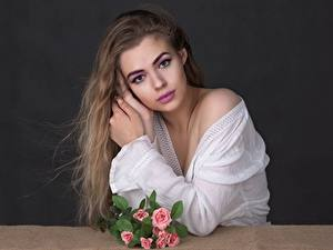 Image Bouquets Face Makeup Staring Hair Dark Blonde young woman