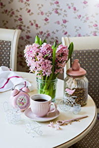 Wallpapers Bouquet Hyacinths Clock Coffee Jar Cup Food Flowers