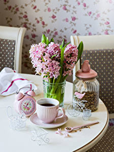 Wallpapers Bouquets Hyacinths Clock Coffee Jar Cup Flowers