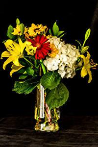 Fotos Blumensträuße Lilien Hortensien Chrysanthemen Schwarzer Hintergrund Vase Blüte