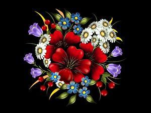 Fotos Blumensträuße Gezeichnet Schwarzer Hintergrund