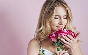 Hintergrundbilder Blumensträuße Rose Farbigen hintergrund Blondine Riechen junge frau Blumen
