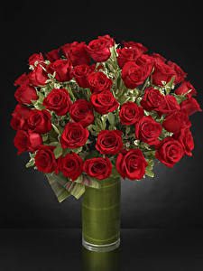 Wallpaper Bouquets Roses Gray background Vase Red Flowers