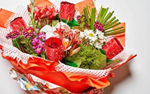 Fotos Blumensträuße Rosen Levkojen Lilien Georginen Kamillen Grauer Hintergrund