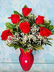 Fotos Sträuße Rosen Vase Rot