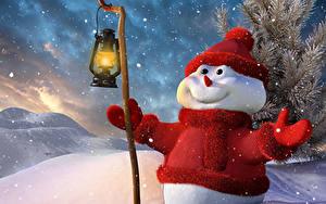 Hintergrundbilder Ast Schneemänner Magierstab Lampe Mütze Schal Lächeln 3D-Grafik
