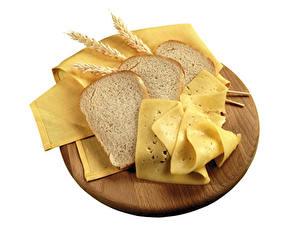Fotos Brot Käse Weißer hintergrund Ähre