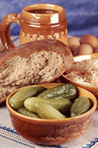 Fotos Brot Gurke Schüssel das Essen