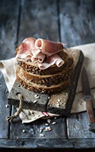 Hintergrundbilder Brot Schinken Messer Bretter Lebensmittel