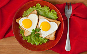 Fotos Brot Gemüse Teller Spiegelei Zwei Herz Gabel