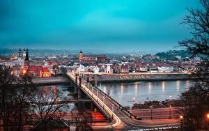 Bilder Brücken Litauen Flusse Kaunas