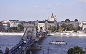 Desktop hintergrundbilder Brücke Fluss Binnenschiff Budapest Ungarn Städte