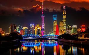 Bilder Brücken Shanghai China Türme Nacht Huangpu River, Oriental Pearl Tower Städte