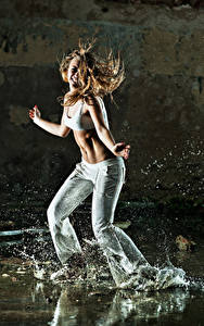 Wallpapers Brown haired Dance Hands Water splash young woman