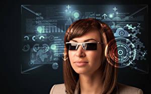 Hintergrundbilder Braunhaarige Brille Haar Mädchens
