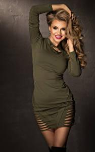 Fotos Braunhaarige Lächeln Kleid
