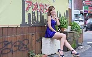Hintergrundbilder Braunhaarige Lächeln Sitzt Kleid Hand Bein High Heels Mädchens