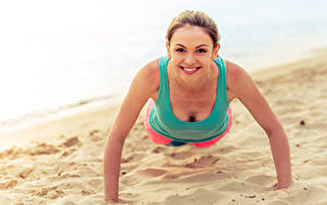 Pictures Brown haired Smile Workout Sand Staring Push-up Girls Sport