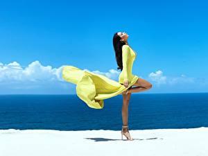 Hintergrundbilder Brünette Seitlich Pose Kleid Bein Mädchens