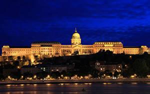 Bilder Budapest Ungarn Burg Gebäude Himmel Nacht Straßenlaterne Buda Castle Städte