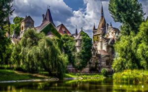 Hintergrundbilder Budapest Ungarn Burg Teich Bäume HDR Vajdahunyad Castle Städte