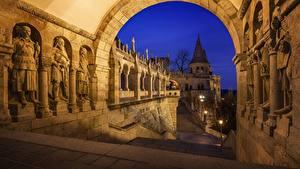 Fotos Budapest Ungarn Bogen architektur Nacht Fisherman's Bastion