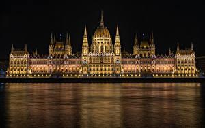 Hintergrundbilder Budapest Ungarn Gebäude Fluss Design Nacht Hungarian Parliament
