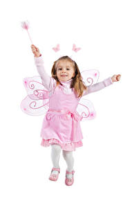Fotos Schmetterlinge Feen Weißer hintergrund Kleine Mädchen Flügel Kleid Laufsport Freude Kinder