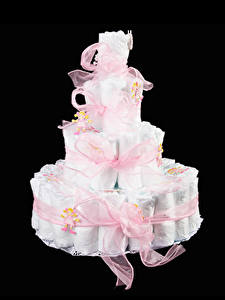 Pictures Cakes Black background Gifts Design Ribbon