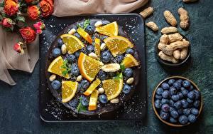 Images Torte Blueberries Orange fruit Nuts Food