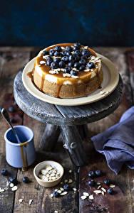 Fotos Torte Heidelbeeren Bretter Becher das Essen
