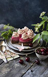 Bilder Torte Kirsche Bretter Design Löffel Lebensmittel