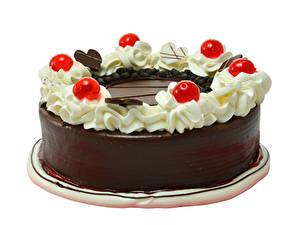 Bilder Torte Schokolade Beere Weißer hintergrund Design Lebensmittel