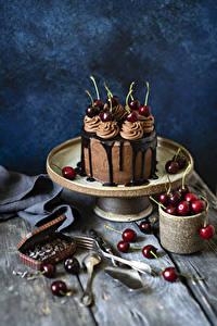 Bilder Torte Schokolade Kirsche Bretter Design Lebensmittel