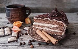 Hintergrundbilder Torte Schokolade Zimt Stück