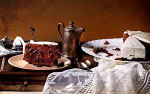 Fotos Torte Kaffee Teller Löffel Stücke das Essen