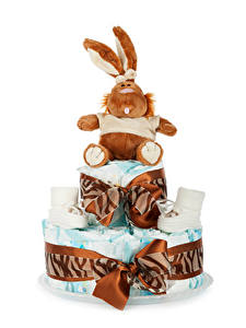 Picture Torte Rabbits White background Present Design