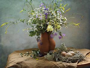 Bilder Kamillen Flockenblumen Löwenmäuler Vase Nest Ei Ast Blumen