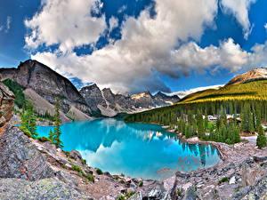 Bilder Kanada See Parks Gebirge Wald Landschaftsfotografie Banff Moiraine, Alberta