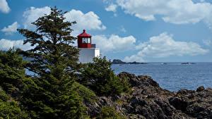 Desktop hintergrundbilder Kanada Leuchtturm Felsen Bäume Wolke Ucluelet Natur