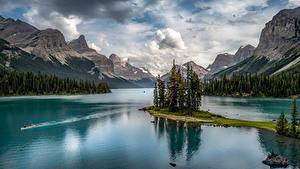Bilder Kanada Parks Berg See Landschaftsfotografie Jasper park Wolke Maligne Lake, Alberta