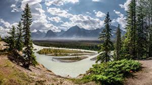 Hintergrundbilder Kanada Park Berg Flusse Landschaftsfotografie Bäume Wolke Jasper National Park, Alberta Natur