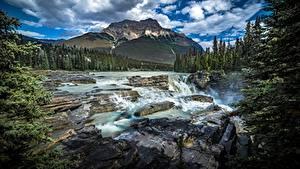 Fotos Kanada Parks Berg Flusse Steine Landschaftsfotografie Wolke Jasper park Alberta